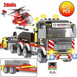 411 sztuk kompatybilny City Helicopter Heavy Cargo Transport klocki ciężarówka samochód cegły zabawki dla dzieci