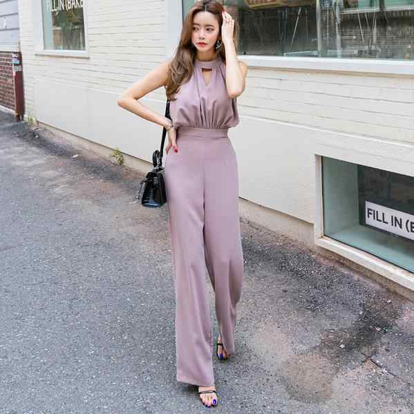 Office Lady Sleeveless Slim Women Jumpsuit Elegant Work Business Wide Leg Pant Casual Jumpsuits Female 2020 AE964