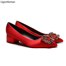 Red Satin Rhinestone Shoes Women Basic Pumps 2021 Red Satin Diamond Buckle Pointed Square