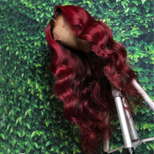 Wig Hairstyle Human-Hair Lace-Front 99J Red-Color New Soft with Omber
