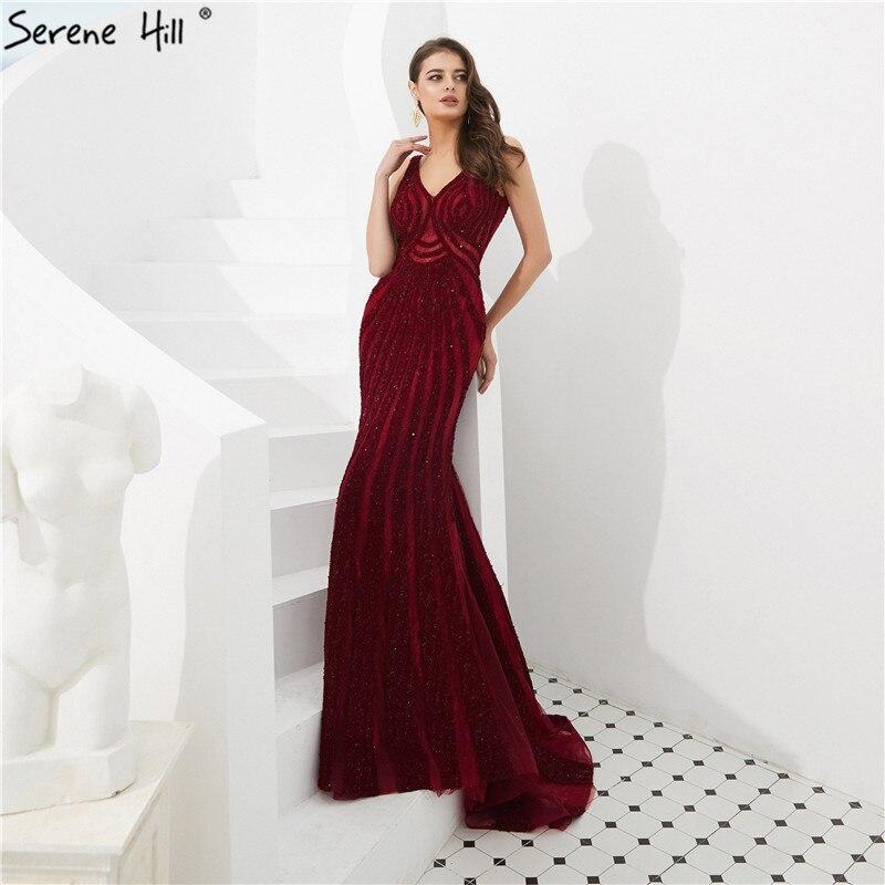 Dubai Wine Red Mermaid Luxury Evening Dresses 2019 Full Diamond V-Neck Formal Gowns Serene Hill LA6693