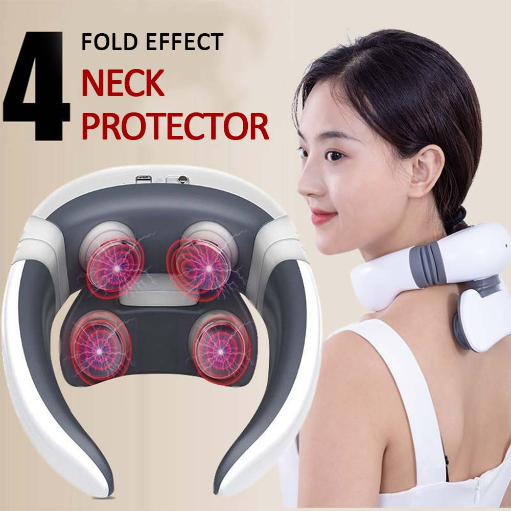 Magnetic Pulse Neck Massager for Neck Pain Relief Health Care Relaxing Health Deep Tissue Cervical Massage Remote Control