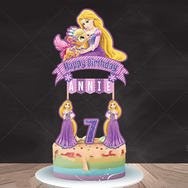 Tremendous 1 Set Custom Cupcake Topper Tangled Rapunzel Party Decoration Funny Birthday Cards Online Alyptdamsfinfo