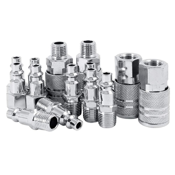 цена на 14pcs Air Line Hose Compressor Fitting 1/4 Inch Bsp Metal Connectors Coupler Male Female Quick Release Set