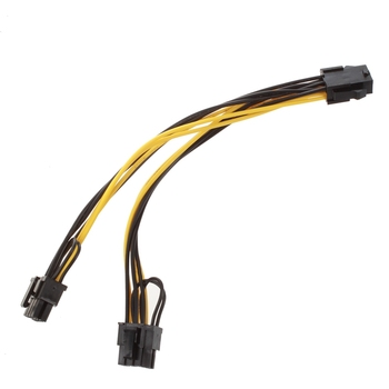 semoic Module 6Pin to Dual PCI-E PCIe 8Pin + 8Pin (6+2Pin) Power Ribbon Cable Cord 20cm + 20cm for Thermaltake Tt 650 W0163 PSU image