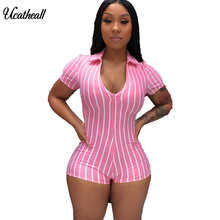 Turn Down Collar Women Sexy Playsuit Front Zipper Striped Short Sleeve Rompers New Female Elastic Sk