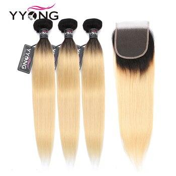 Yyong 1b/613 Gerade Haar Bundles Mit Verschluss Brasilianische Menschliche Haarwebart Honig Blonde Bundles Mit Spitze Schließung Remy 4 teile/los