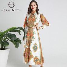 SEQINYY Vintage Dress 2020 Spring Autumn New Fashion Design Long Lantern Sleeve Flowers Printed Women Midi Elegant
