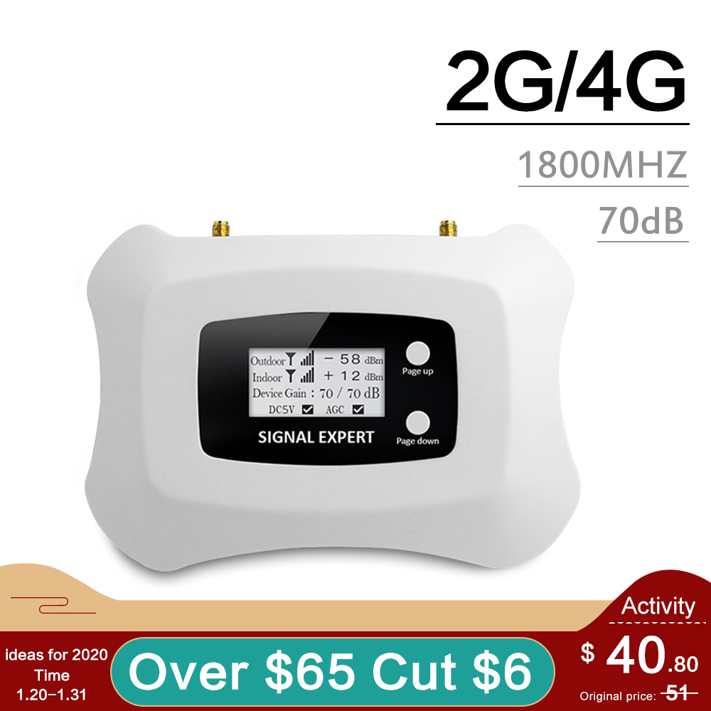 Smart LCD Display GSM 4G 1800 Mobile Phone Signal Repeater 1800 Mhz 4G LTE Cellular Signal Booster Band 3 Amplifier 70dB Gain