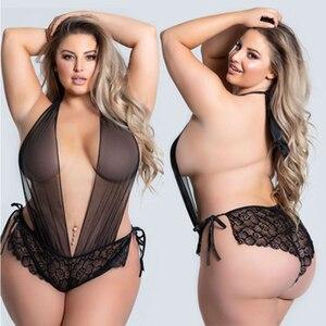 3XL- 5XL Hot Erotic Lace Lingerie for Women Sexy Underwear Porn Babydoll Dress Open Bra Crotch Sexy Lingerie Teddy Plus Size