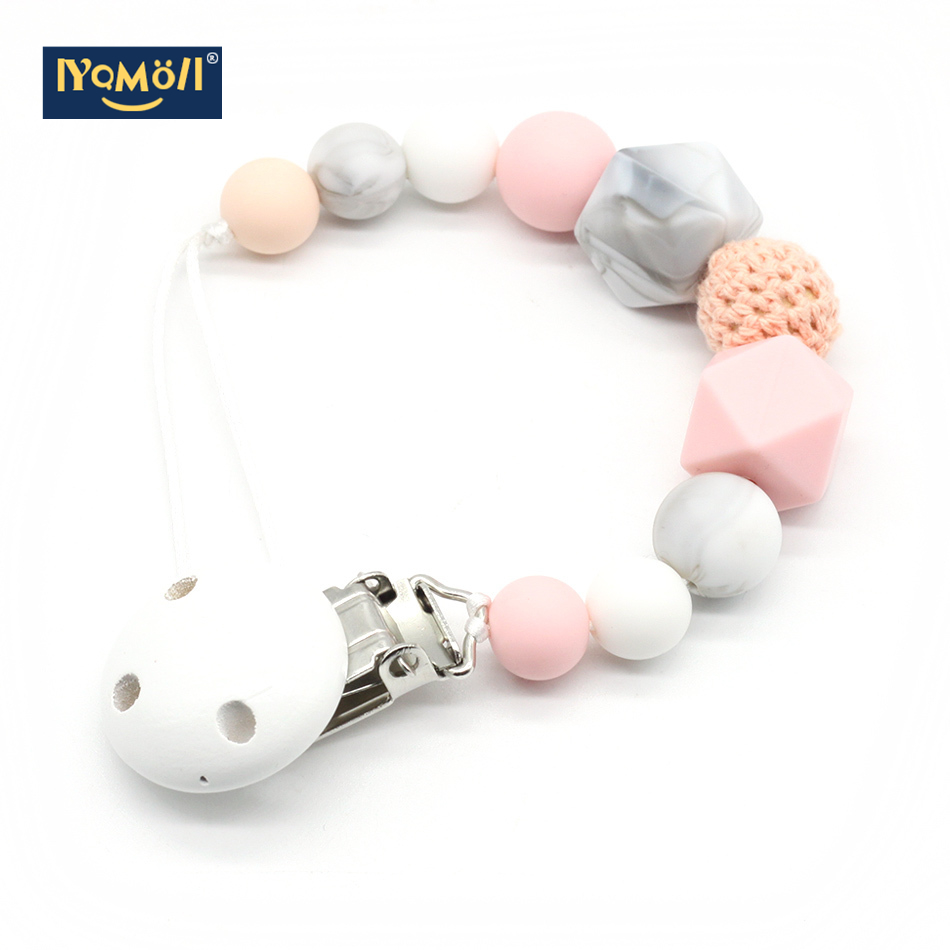 Pacifier Clips Silicone Teething  Choose Color Baby Teether Bite Beads Chew Toy Dummy Clip Chewing Beads Clip Simple Classic