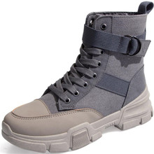 Canvas boots female 2020 new autumn and winter wild British wind womens boots high top lace boots women sneakers zapatos mujer