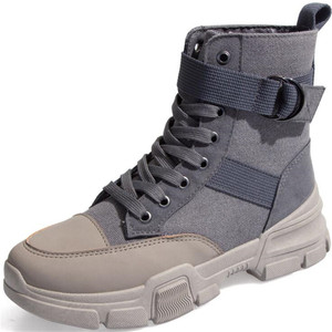Image 1 - Canvas boots female 2020 new autumn and winter wild British wind womens boots high top lace boots women sneakers zapatos mujer