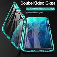 360 ° double face verre métal magnétique étui à rabat realme 5 pro q housse pour oppo reno ace a11 a11x a5 a3s a7 a9 pro f9 coque