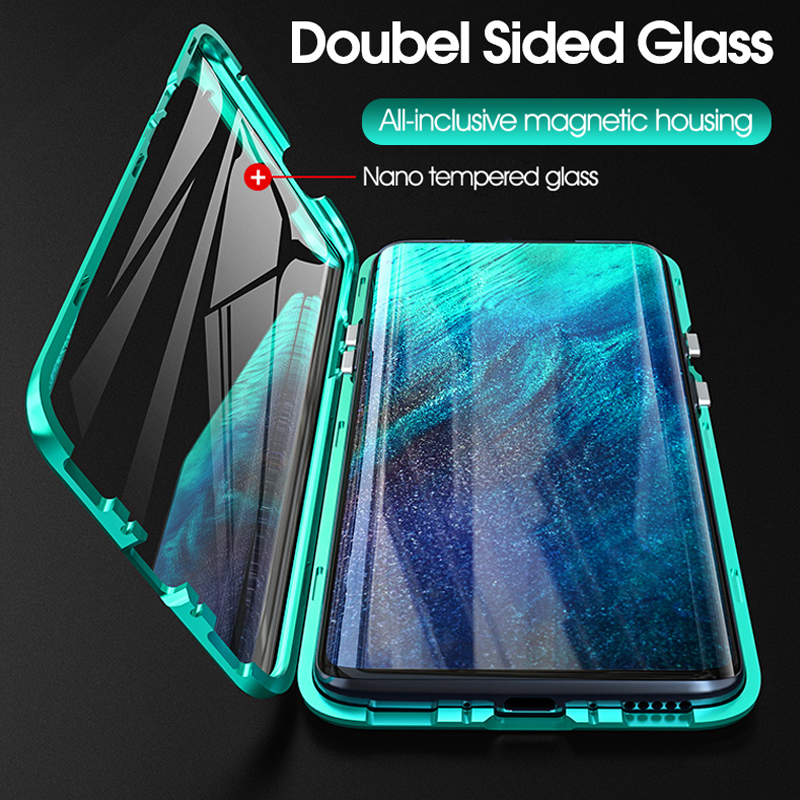 360° double-sided <font><b>glass</b></font> metal magnetic flip <font><b>case</b></font> realme 5 pro q <font><b>case</b></font> cover for <font><b>oppo</b></font> reno ace a11 a11x a5 <font><b>a3s</b></font> a7 a9 pro f9 coque image