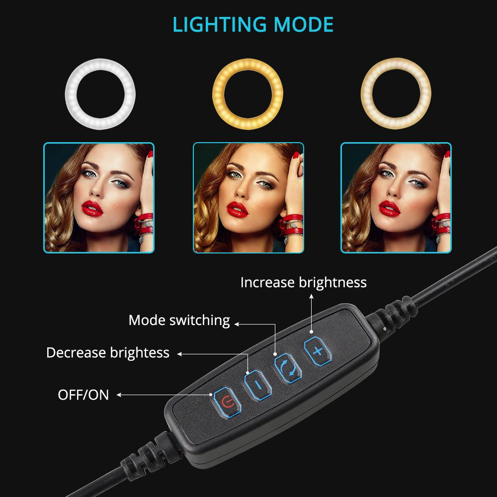 cheapest 26CM LED Selfie Ring Light three-speed Stepless Lighting 2700K-6500K Dimmable With Table Tripods For Makeup Video Live Studio
