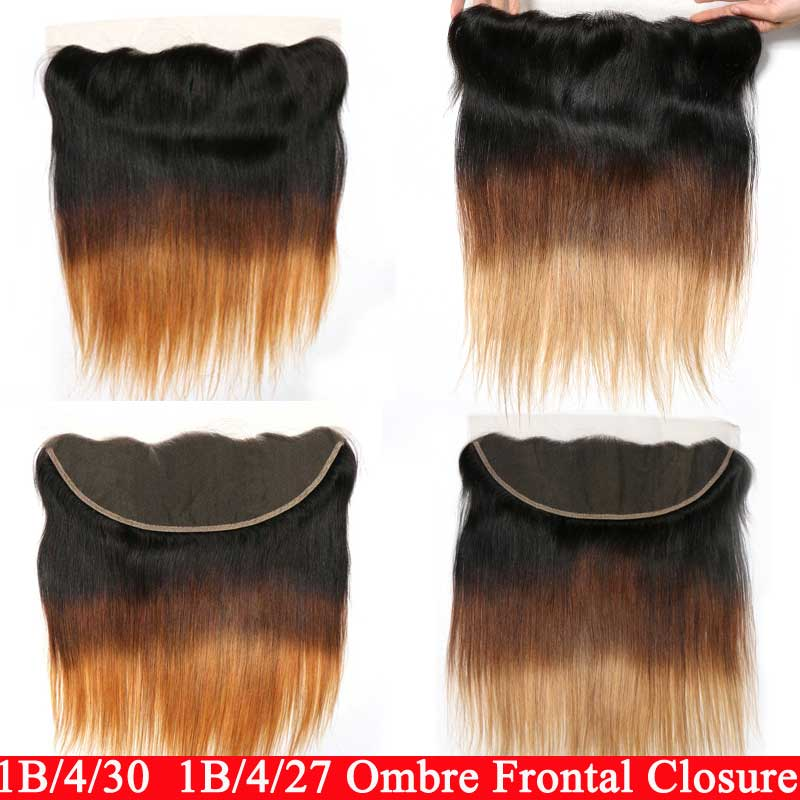 Swiss Ear To Ear Lace Frontal Closure 1B/4/27/30 Remy Ombre Straight Frontal Closure Human Hair Closure Top Brazilian Closure