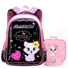 Милая девушка кошка школьные сумки мультфильм рюкзак малыш дети девочка сумка