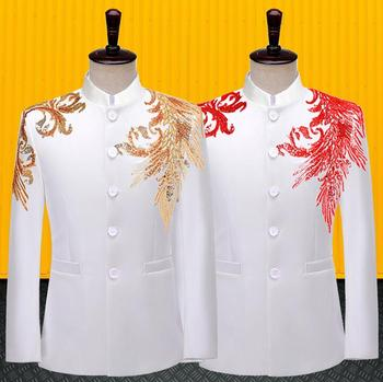 Blazer men Chinese tunic suit Sequins jackets formal dress mens wedding suits costume singer stage style clothing white