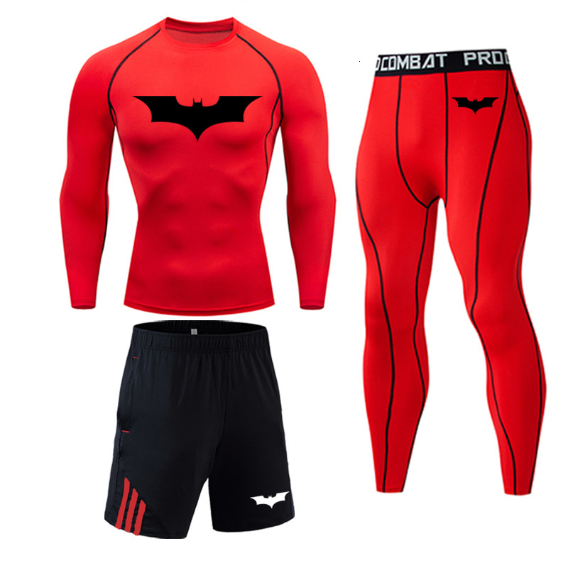 Batman Men's Winter Sports Suits Long Thermal Warm Pants 3 Piece Tracksuit Men Rashgard Male Compressed Thermal Underwear 4XL