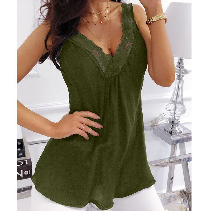 Lace Patchwork Sleeveless Tank Tops Cute Floral Blouse Crop Tunic Vest for Women