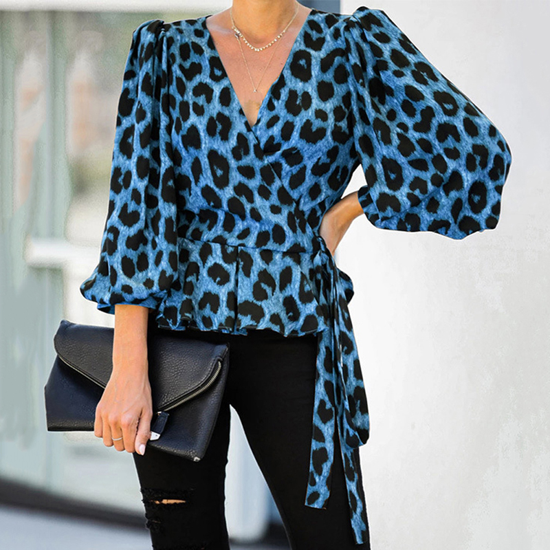 Elegant Women Tops Fashion Leopard Print Shirt Casual Loose Solid Color Blouse Ladies Sexy Deep V-neck Shirt For Women