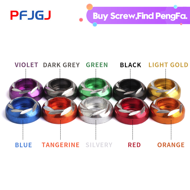 Peng Fa Free Shipping Dress Up M6 multi-color aluminum alloy Washers for motorcycle modification and decoration(China)