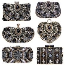 SEKUSA Vintage style femmes perlées sacs de soirée broderie petit jour embrayages mariage mariée sacs à main diamants case sac à main