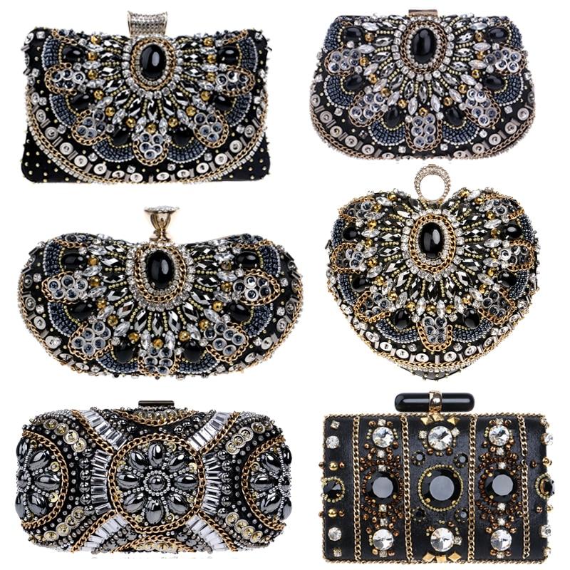 SEKUSA Vintage Style Women Beaded Evening Bags Embroidery Small Day Clutches Wedding Bridal Handbags Diamonds Case Purse