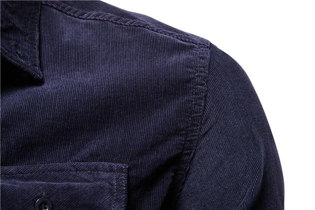2020 New Single Breasted 100% Cotton Men's Shirt Business Casual Fashion Solid Color Corduroy Men Shirts Autumn Slim Shirt Men 4