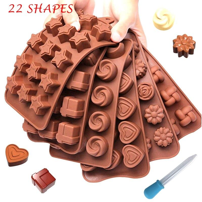 DIY 실리콘 초콜릿 금형 22 모양 초콜릿 퐁당 케이크 베이킹 도구 비 스틱 케이크 금형 젤리 & 캔디 3D 모양 금형