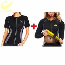 LAZAWG sıcak ter ağırlık kaybı gömlek neopren vücut şekillendirici Sauna ceket takım elbise egzersiz eğitim kıyafetleri yağ yakıcı üst tam Zip up