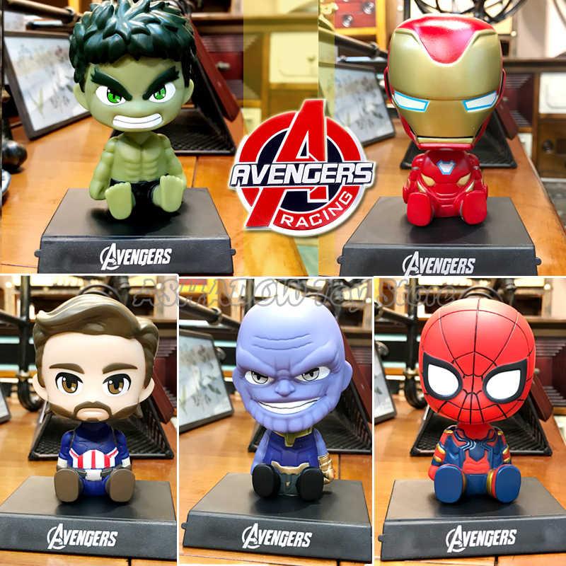Decorazione auto Scuotendo La Testa Action Figure Del Fumetto Sveglio Vendicatori Marvel Statua Accessori Auto Bambola di Ferro Spider Man Thanos Giocattoli