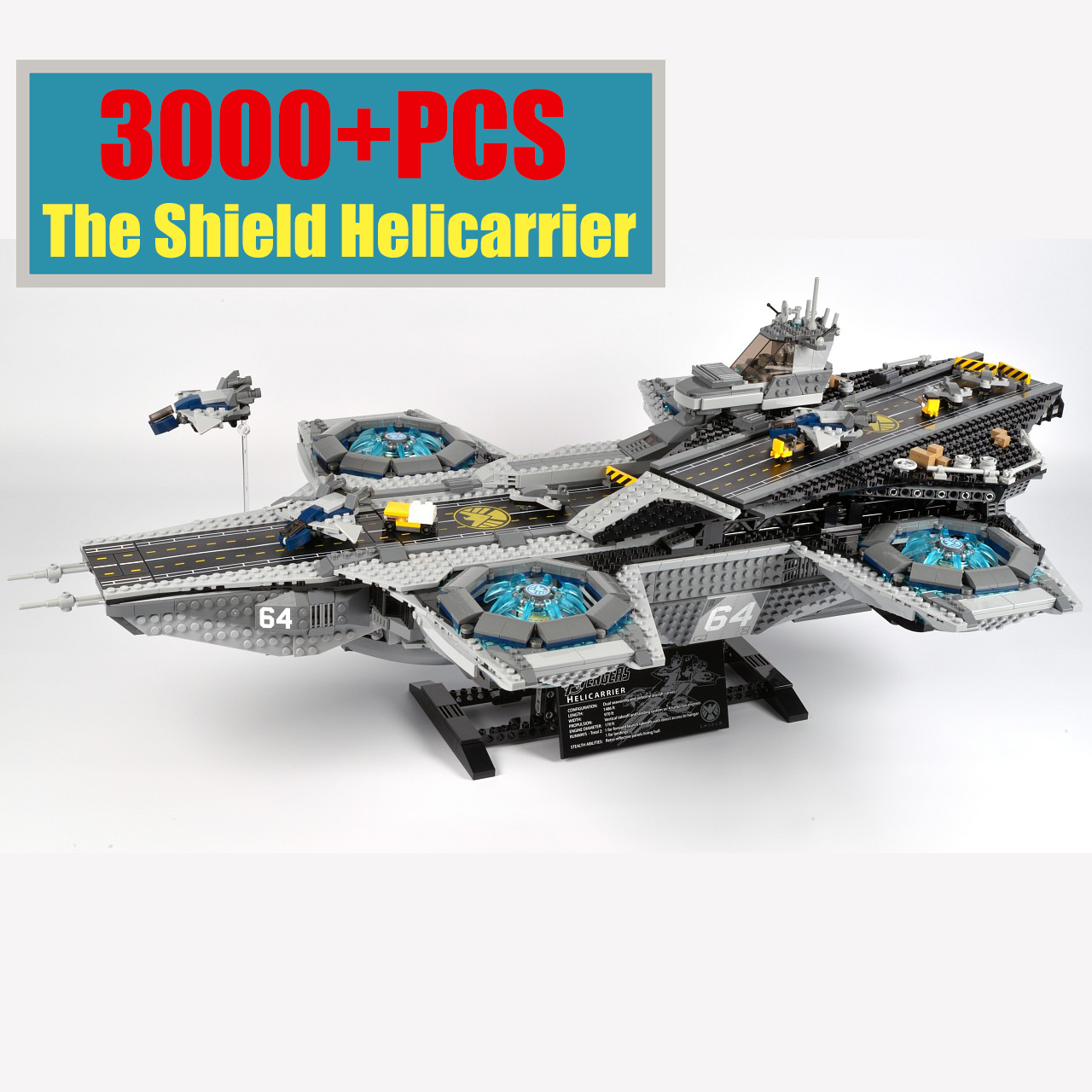 Super The Shield Helicarrier Hero Fit Avengers Lepining Model Building Blocks With 5 Figures Toys Compatible Movie 76042 Gift image