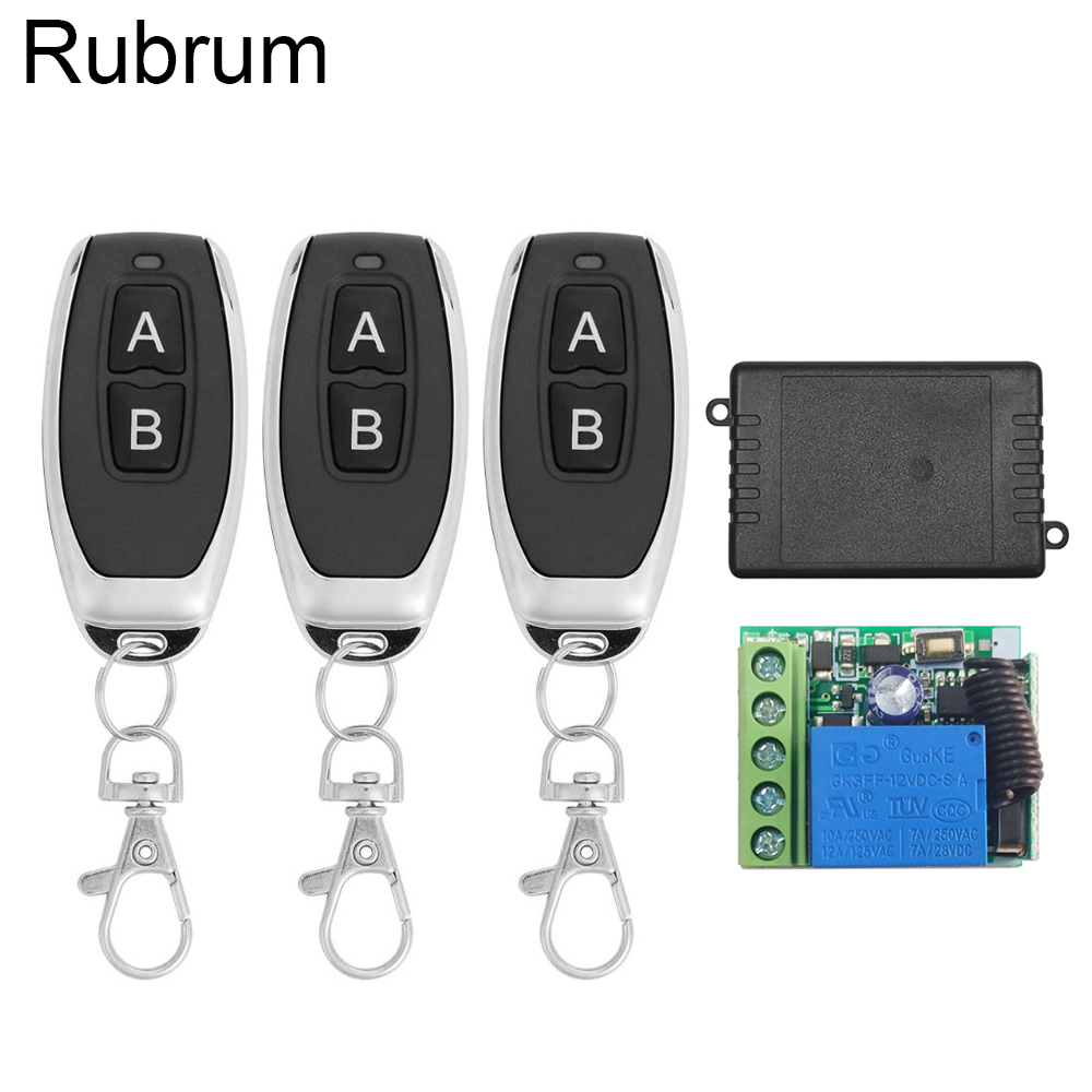 Rubrum 433Mhz Universal Wireless <font><b>Remote</b></font> Control Switch DC 12V 1CH RF Relay Receiver Module + RF Relay <font><b>Remote</b></font> 433 Mhz Transmitter image