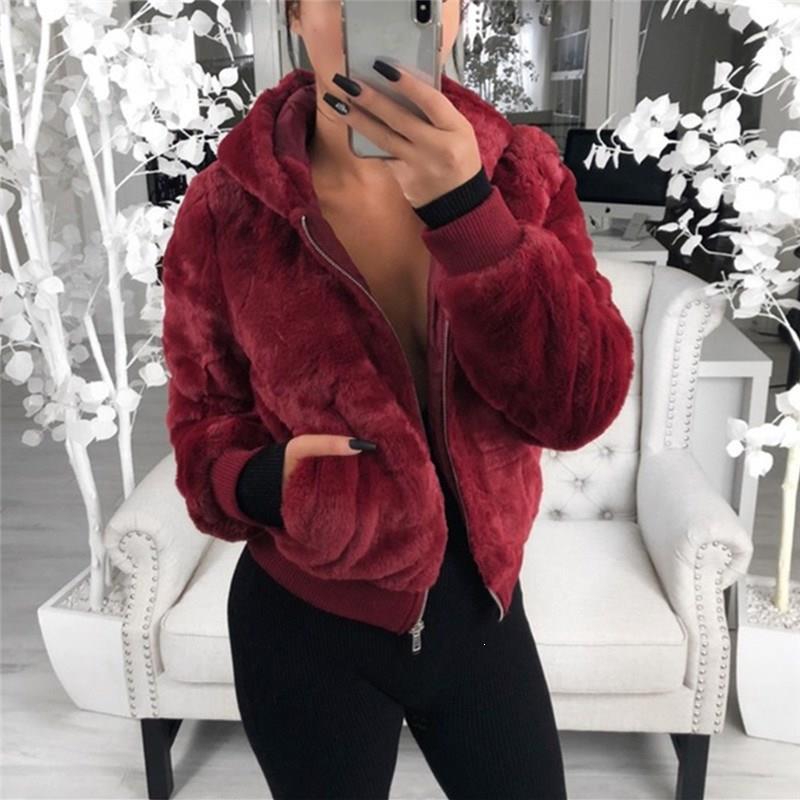 Winter Women Faux Fur Coat Warm Fleece Jackets Crop Tops Fashion Slim Fur Pockets Zipper Up Punk Outwear