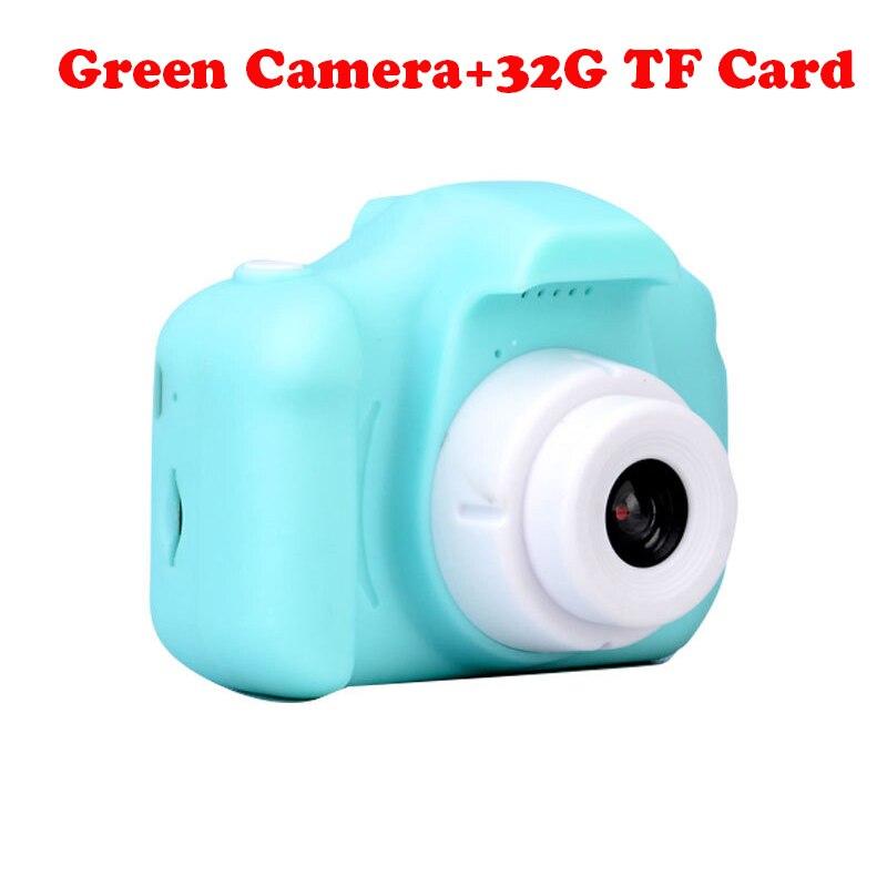 13.0MP перезаряжаемая детская мини-цифровая камера 2,0 дюймов HD экран видеомагнитофон видеокамера язык переключение тайм съемки - Цвет: Green Camera-32G TF