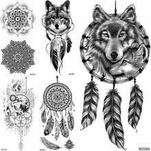 Black Dreamcatcher Temporary Tattoos Sticker Realistic Fake Wolf Mandala Flower Planets Tatoo Decal For Adult Body Art Arm Tatoo(China)