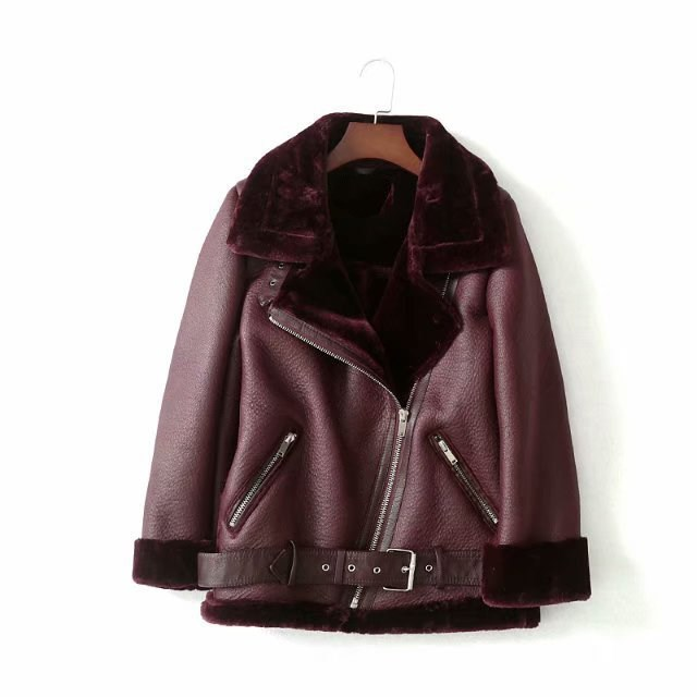 Autumn Winter Women Sashes Pu Leather Coat Turn-Down Collar Zipper Warm Jacket Casual Imitation Fur Leather Jacket Outwear