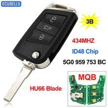 Ключ дистанционного управления 434 МГц ID48 чип HU66 для VW для Volkswagen MQB для Golf VII Golf 7 MK7 Skoda Octavia A7 2017 FCCID: 5G0 959 753