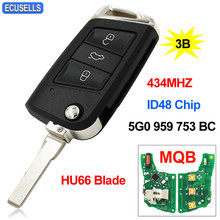 Flip Remote Key 434MHz ID48 Chip HU66 for VW for Volkswagen MQB For Golf VII Golf 7 MK7 Skoda Octavia A7 2017 FCCID: 5G0 959 753