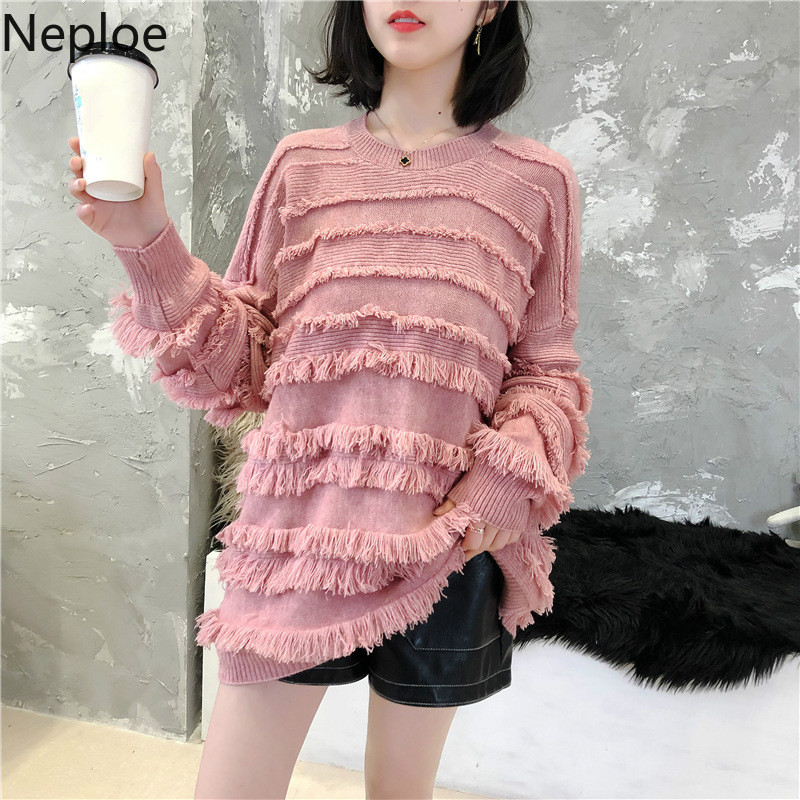 Neploe Winter Pullover Sweater Jumpers Patchwork Knitted Femme Tassel 53808 Tops