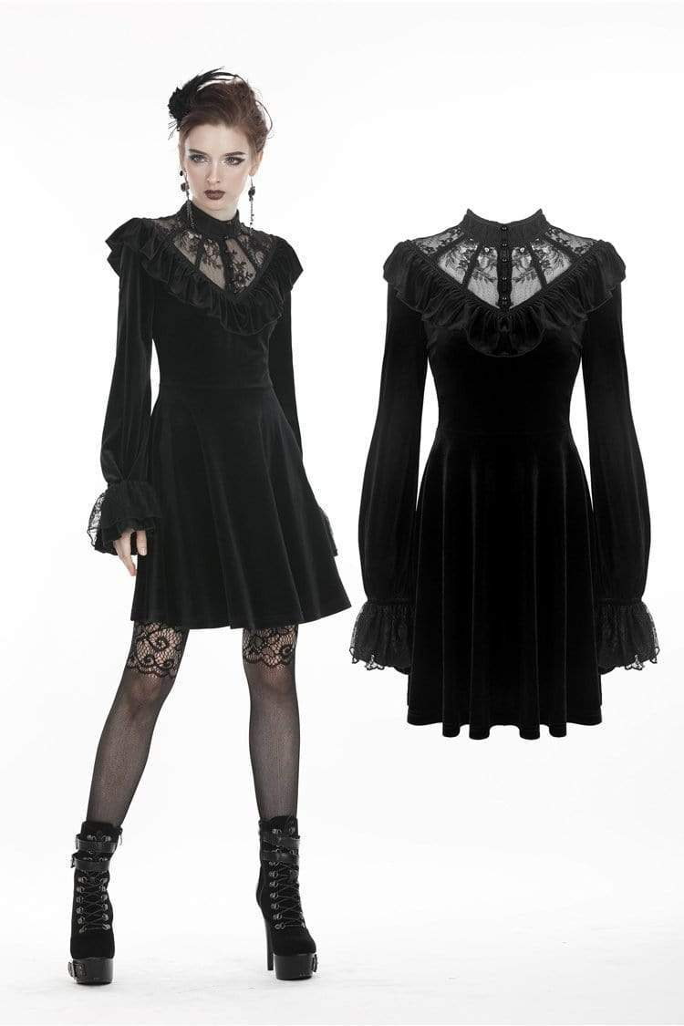 Darkinlove Women's Gothic Ruched Lace V-neck Velvet Dresses DW276
