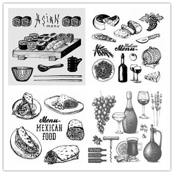 2021 New Arrival Food Menu wyczyść znaczki Making Sushi ser czerwone wino makaron chleb desery Craft Card Seal na papier do scrapbookingu tanie i dobre opinie CN (pochodzenie) Flower Zwierząt Żywności fruit fish Vehicle Postać ludzka CLOUD Nieregularny rysunek odzież Naczynia kuchenne