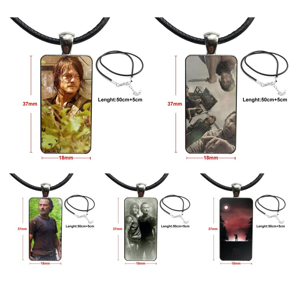 Darly Dixon The Walking Dead Zombies For Women Wedding Gift Necklace Fashion Long Chain With Rectangle Necklace Jewelry