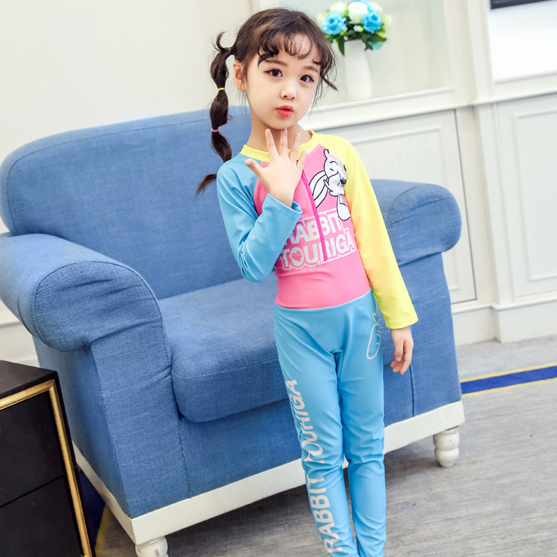 South Korea New Style Summer KID'S Swimwear Girls Outdoor Long Sleeve One-piece Sun-resistant Quick-Dry Large Children Baby Swim