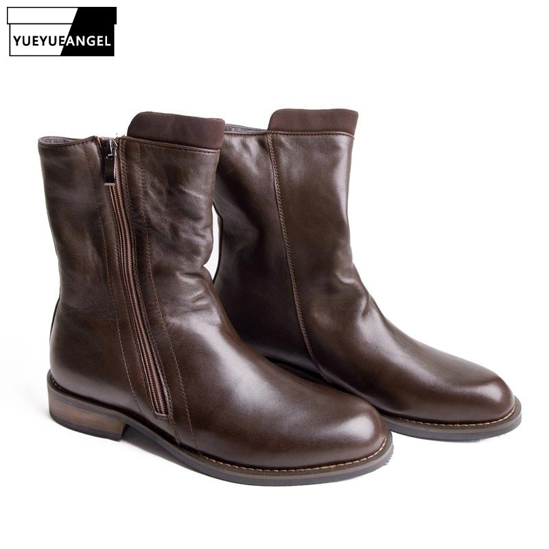 High Quality Winter Fashion Men Military Combot Boots Cowboy Genuine Leather Boots Army Male Casual Shoes Zipper Footwear