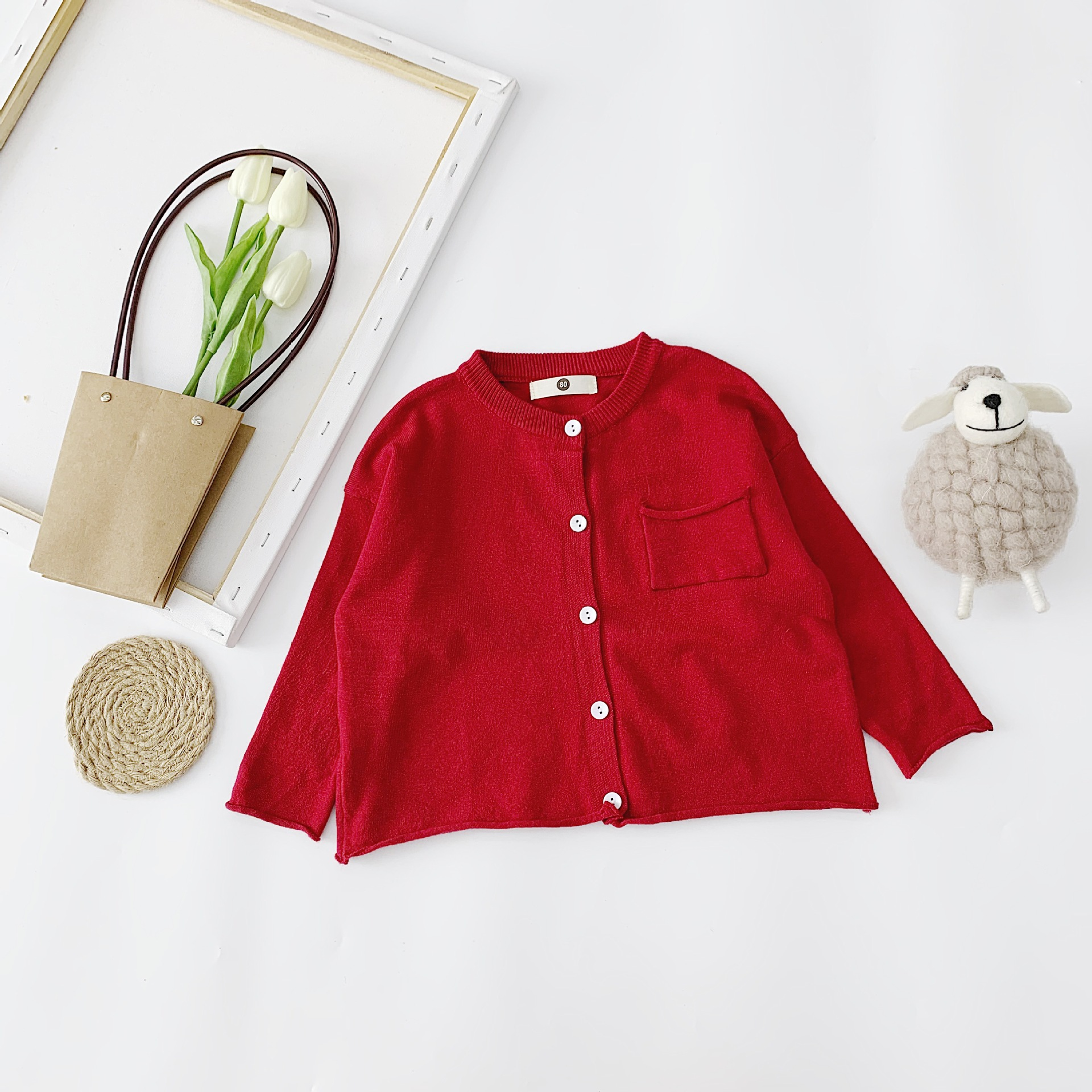 Children Autumn Coat 2019 New Style Korean-style Children Baby Girls Solid Color Knitted Sweater Loose Version Cardigan