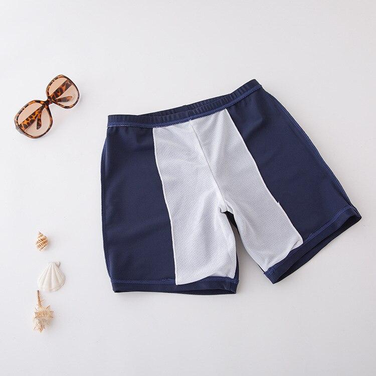 Short In Size Processing CHILDREN'S Swimming Trunks Kids Swimsuit BOY'S Boxer Swimwear Dark Blue Solid Color Beach Shorts