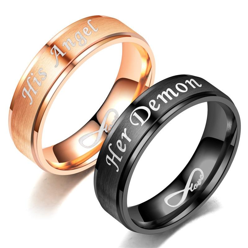 2019 Men Women Couples Rings Black Rose Gold Men Accessories Angel Dream Stainless Steel Ring